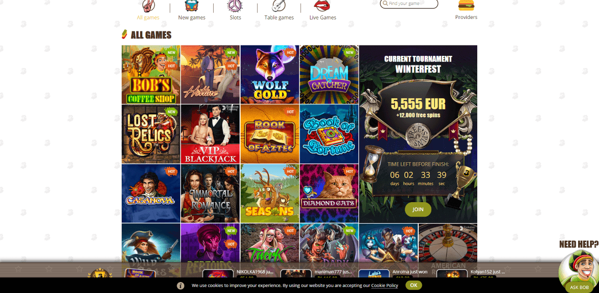 Bob Casino Screenshot 2