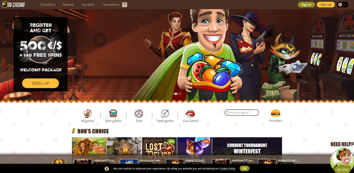 Bob Casino Screenshot 1