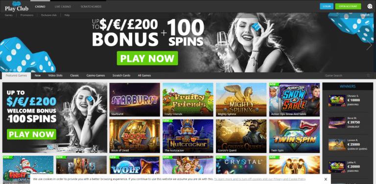 PlayClub Casino Screenshot 1