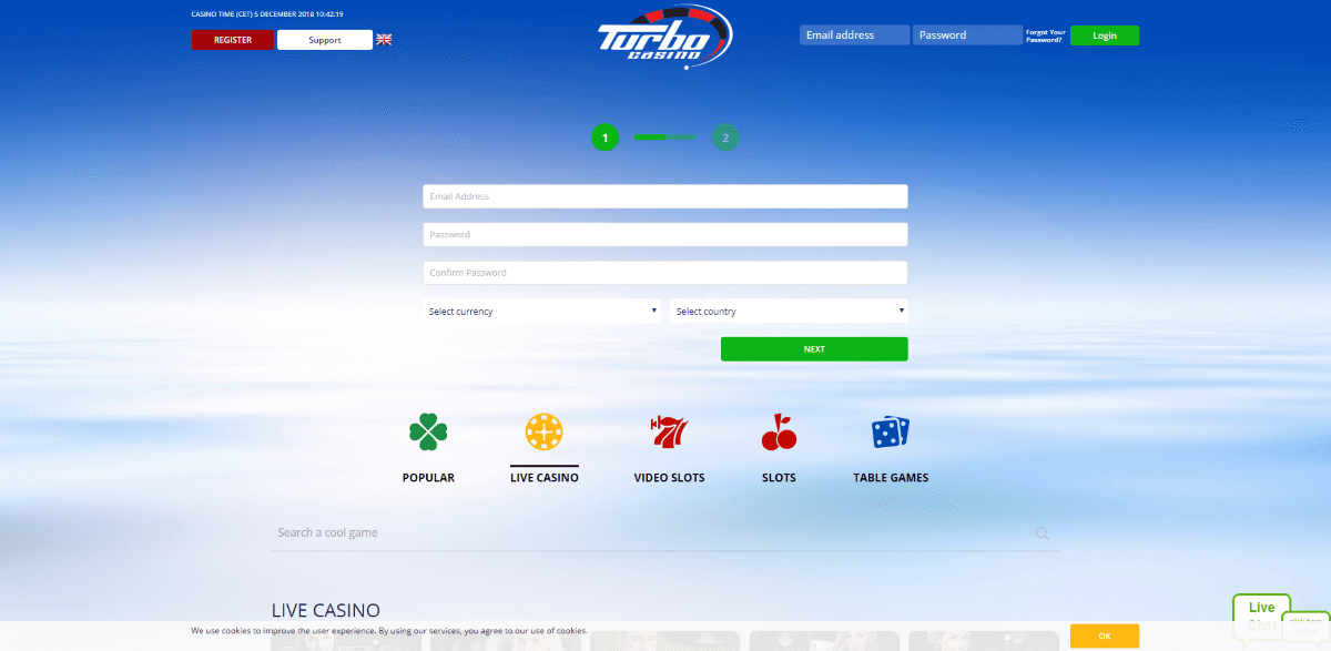 Turbo Casino Screenshot 3