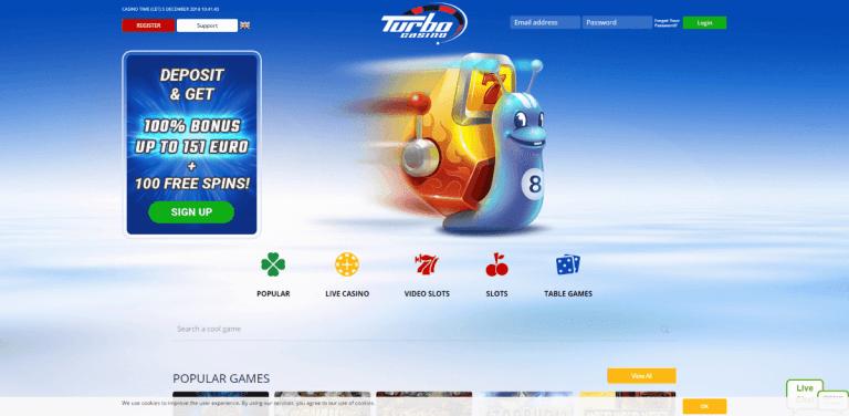 Turbo Casino Screenshot 1
