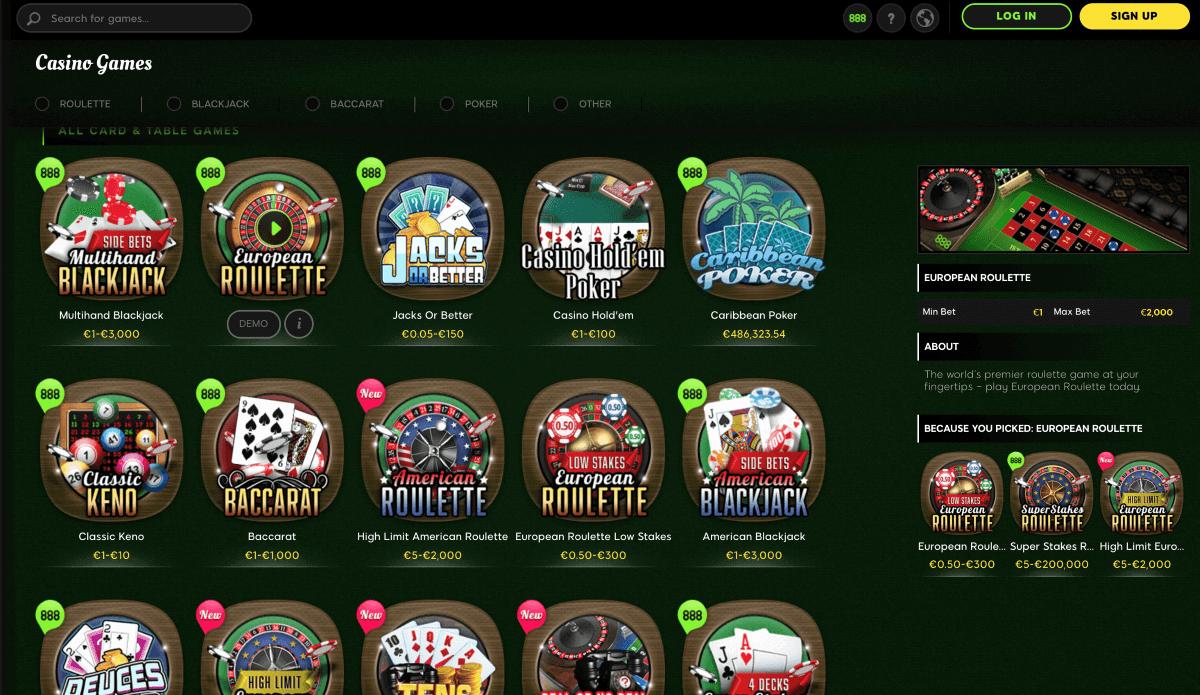 888 Casino Screenshot 3