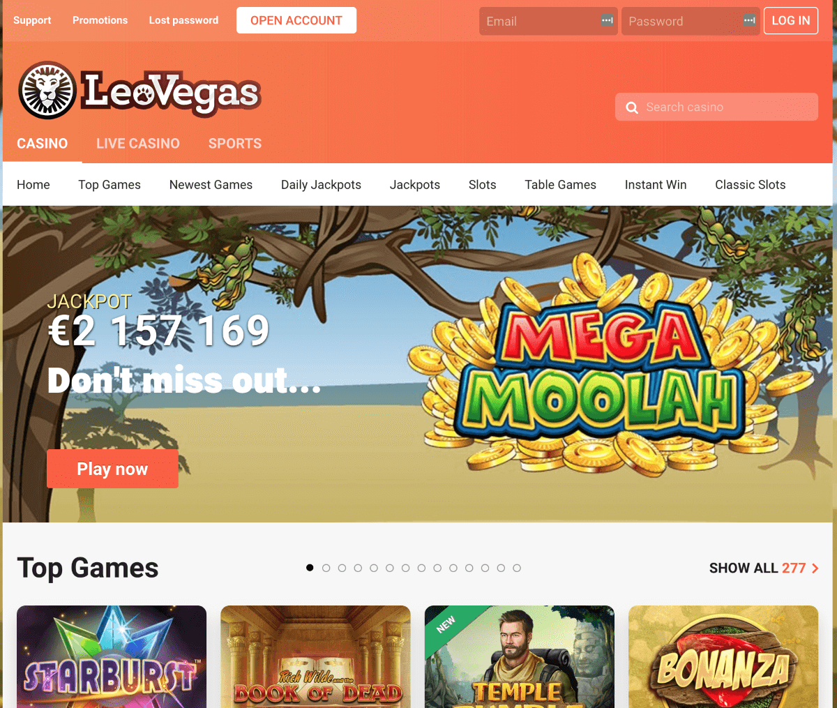 LeoVegas Screenshot 1