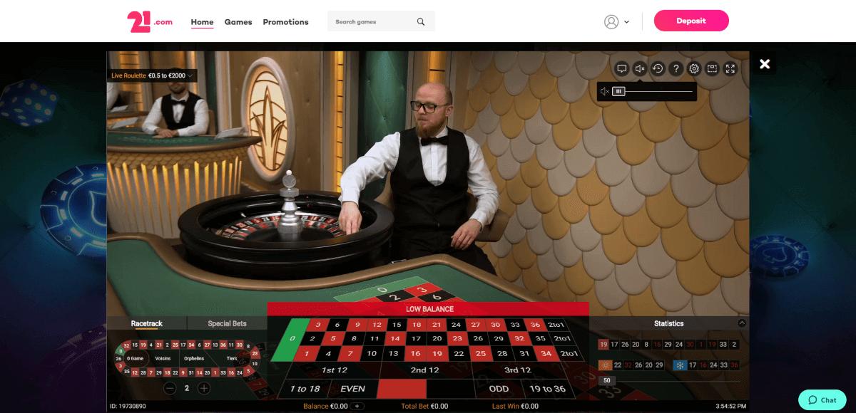 21.com Casino Screenshot 2