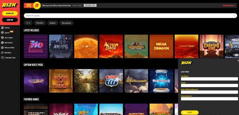 Rizk Casino Screenshot 3