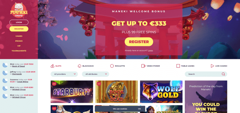 Maneki Casino Screenshot 1