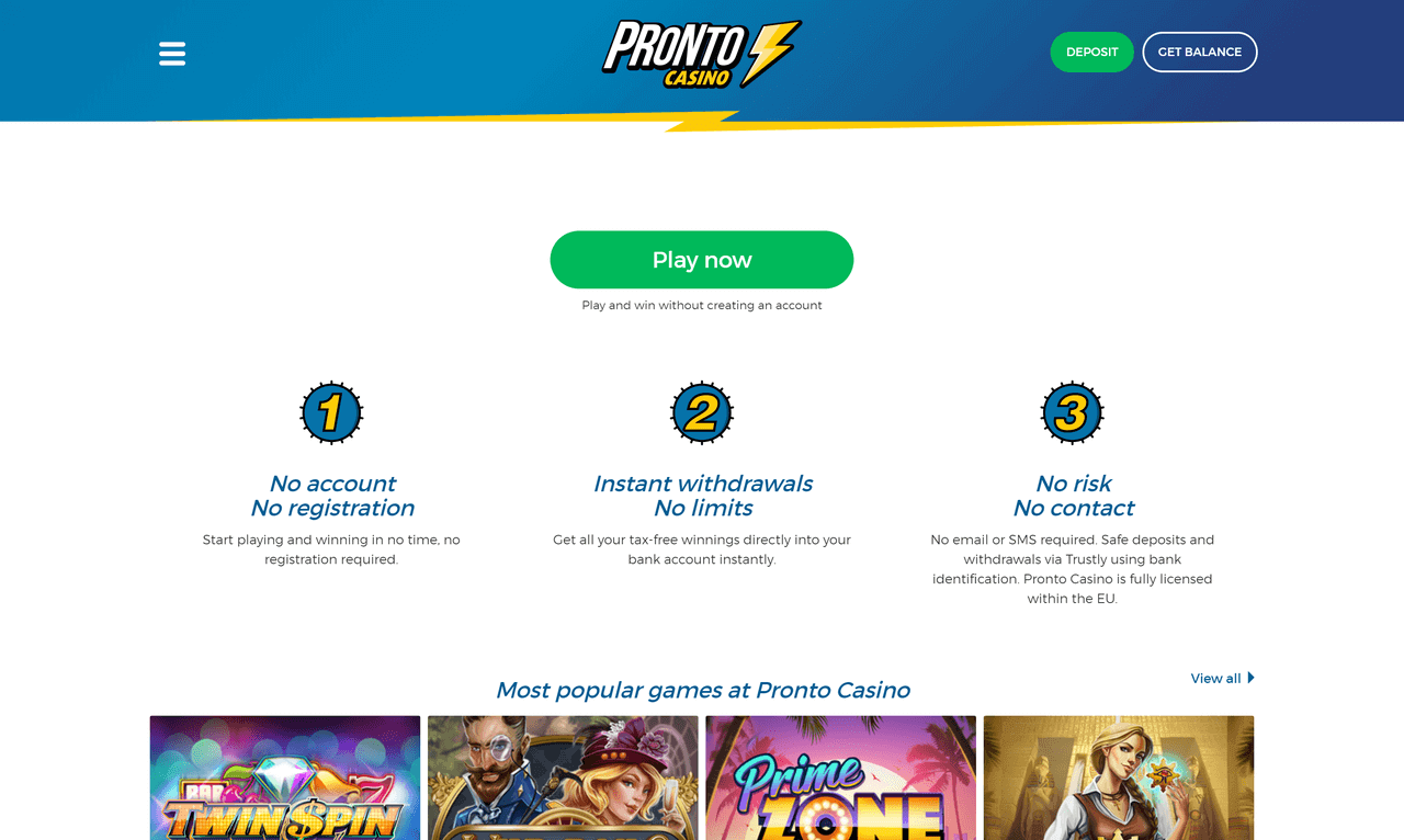 Pronto Casino Screenshot 1