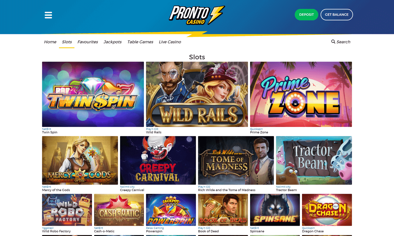 Pronto Casino Screenshot 2