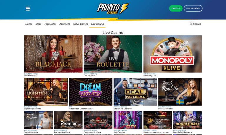 Pronto Casino Screenshot 3