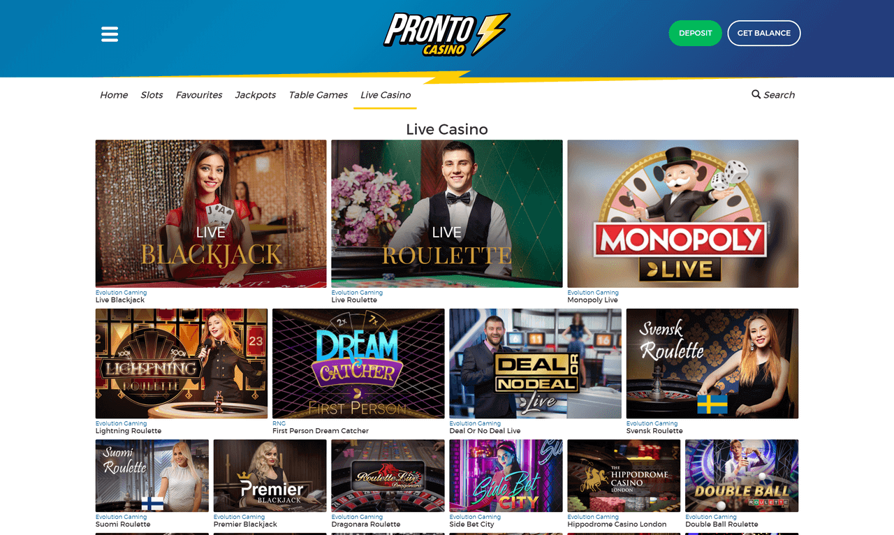 Pronto Casino Screenshot 3
