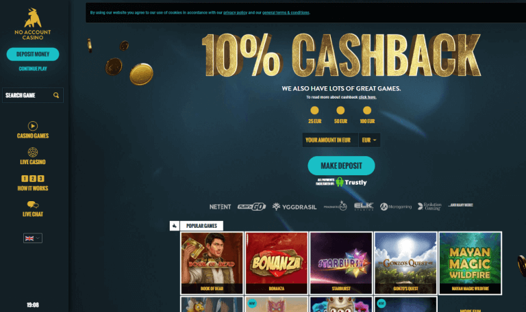 No Account Casino Screenshot 1