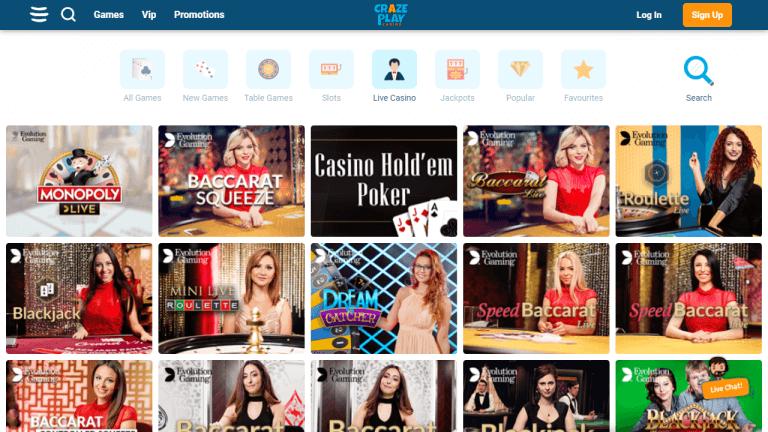 CrazePlay Casino Screenshot 3