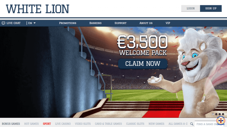 White Lion Casino Screenshot 1