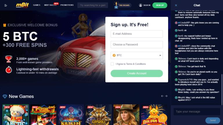 mBit Casino Screenshot 1