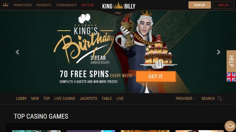 King Billy Casino Screenshot 1
