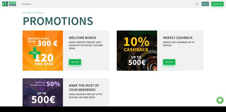 Dozen Spins Casino Screenshot 3