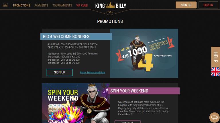 King Billy Casino Screenshot 3