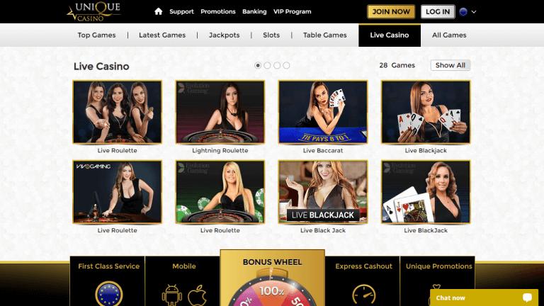 Unique Casino Screenshot 2