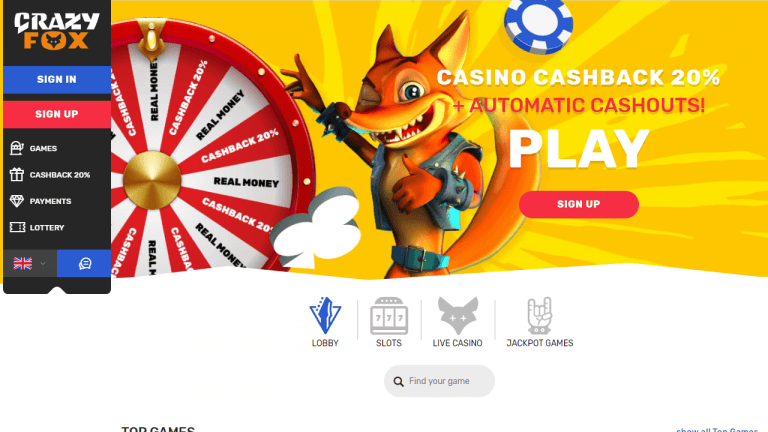 Crazy Fox Casino Screenshot 1