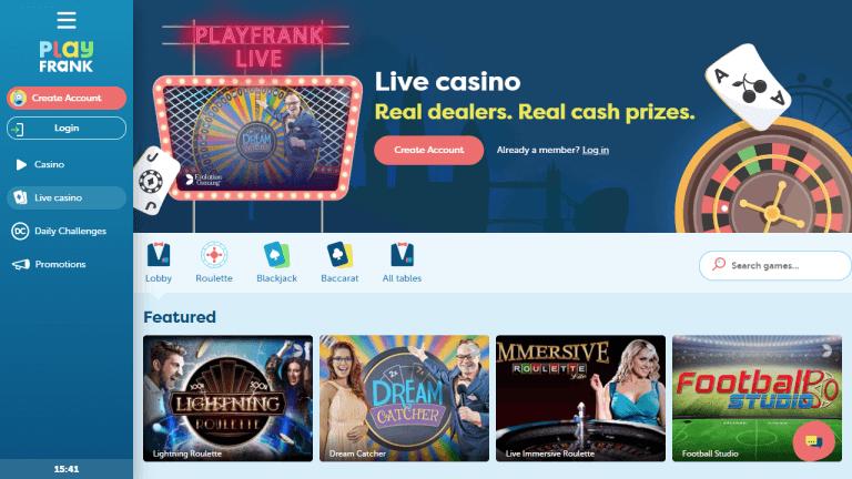 PlayFrank Casino Screenshot 2