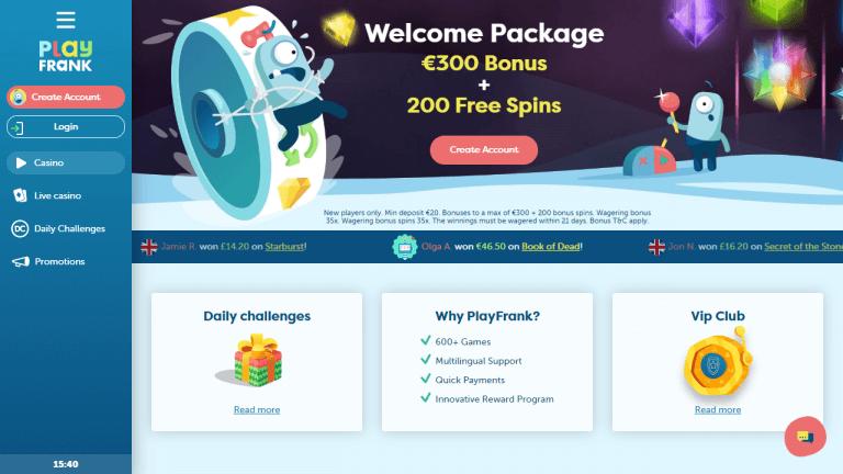 PlayFrank Casino Screenshot 1
