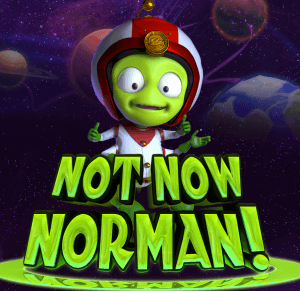 Not Now Norman logo achtergrond