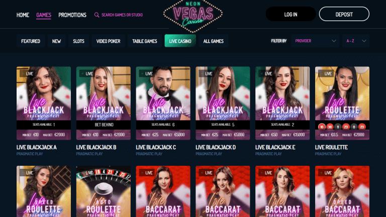 NeonVegas Casino Screenshot 3