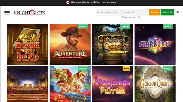 KnightSlots Casino Screenshot 2