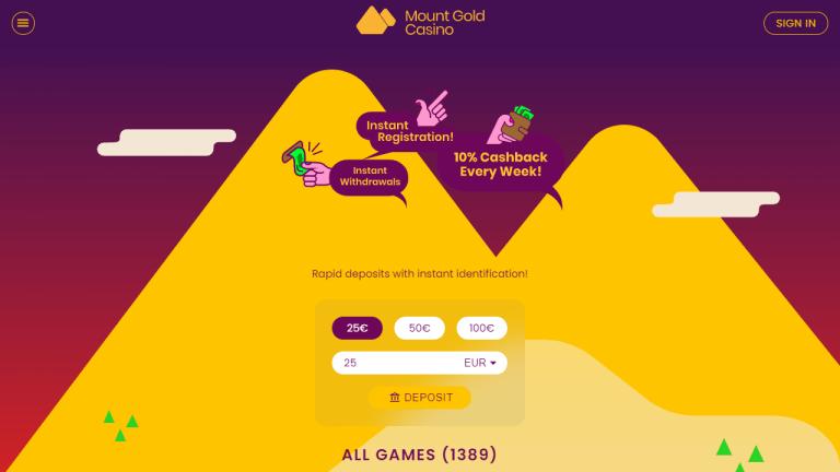 Mount Gold Casino Screenshot 1