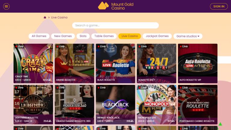 Mount Gold Casino Screenshot 3