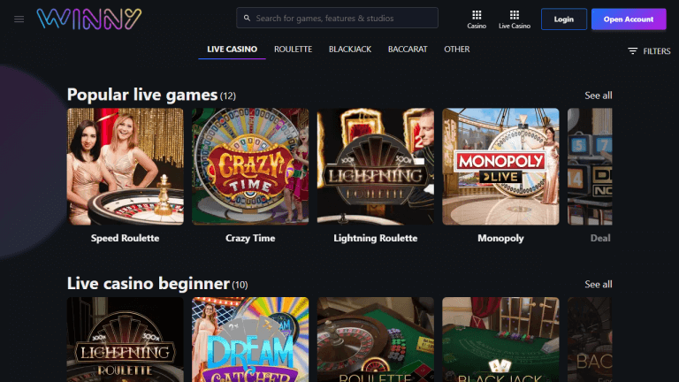 Winny Casino Screenshot 3