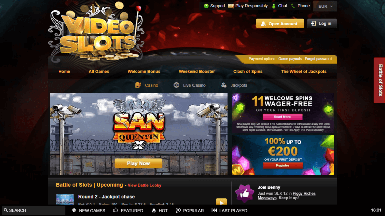 Videoslots Casino Screenshot 1