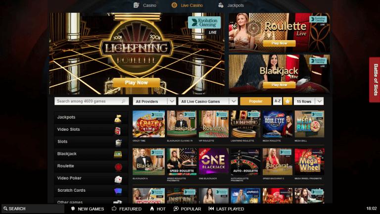 Videoslots Casino Screenshot 3