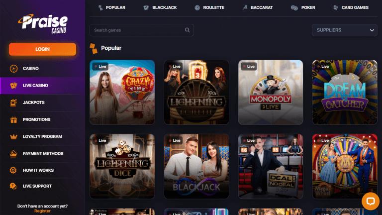 Praise Casino Screenshot 3