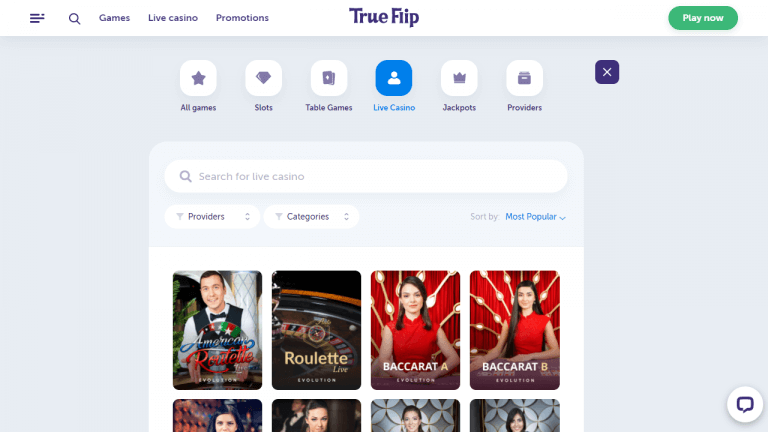 True Flip Casino Screenshot 3