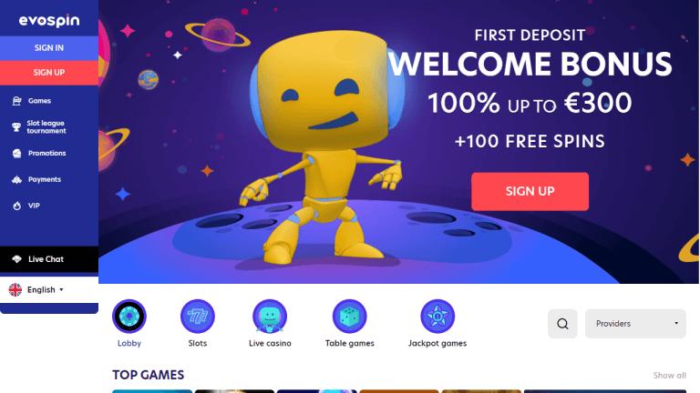 EvoSpin Casino Screenshot 1