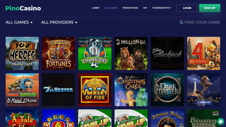 Pino Casino Screenshot 2