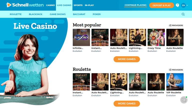 Schnellwetten Casino Screenshot 3