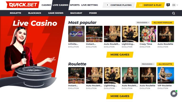 Quick Bet Casino Screenshot 3