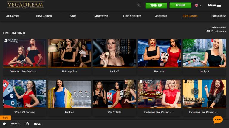 Vegadream Casino Screenshot 3